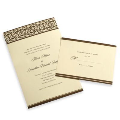 Gartner Studios 50-Count Chocolate and Ivory Damask Invitation Kit