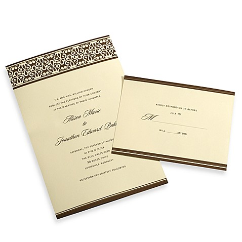 Buy gartner studios 50 count chocolate and ivory damask for Wedding invitation kits 50 count