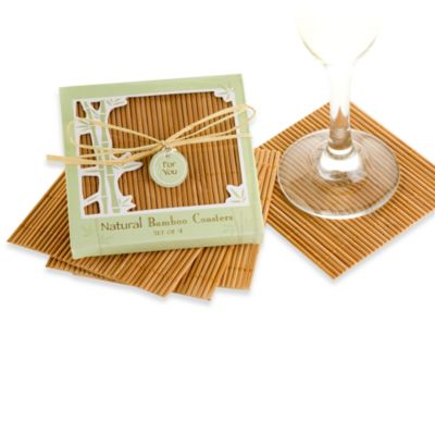 Kate Aspen® Natural Bamboo Coaster Wedding Favors (Set of 4)