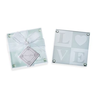 Kate Aspen® LOVE Glass Coaster Wedding Favor (Set of 4)