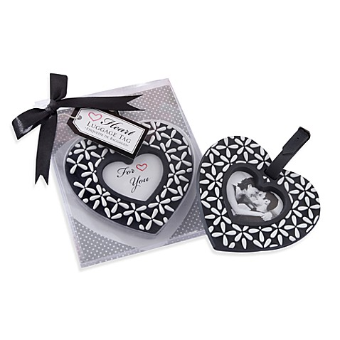 Kate Aspen Black and White Heart Shaped Luggage Tag Wedding Favor