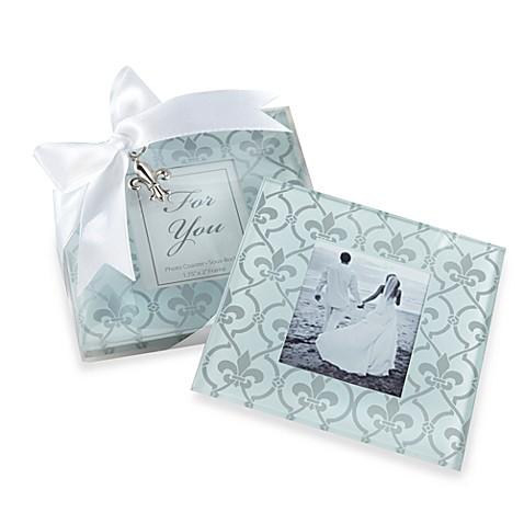 Fleur De Lis Design Glass Photo Coasters
