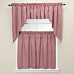 Gingham Burgundy Kitchen Window Tiers