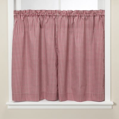 Gingham Burgundy 24-Inch Kitchen Window Tier Pair