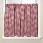 Gingham Burgundy Kitchen Window Tier Pair