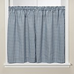Gingham Blue Kitchen Window Tier Pair