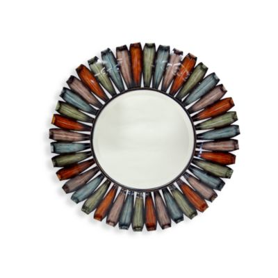 Multicolor Round Metal Mirror