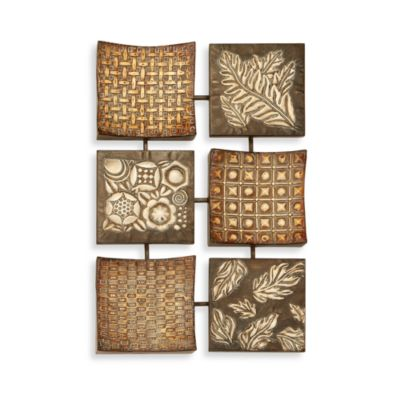 Metal Leaves and Patterns Six-Panel Wall Decor
