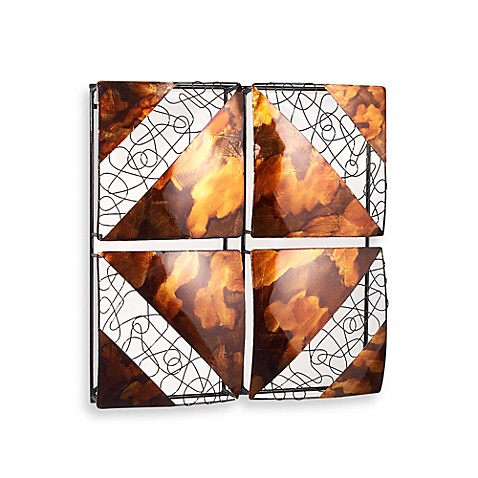Gold 4-Square Metal Wall Decor