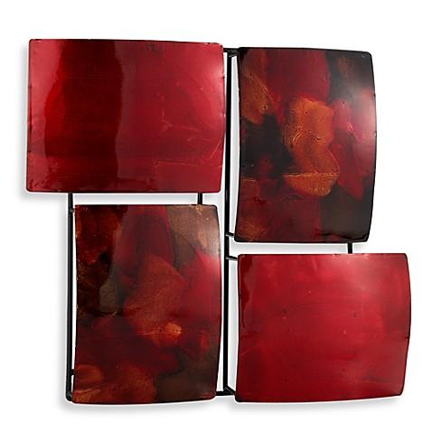 red 4 rectangle metal wall art bed bath beyond. Black Bedroom Furniture Sets. Home Design Ideas