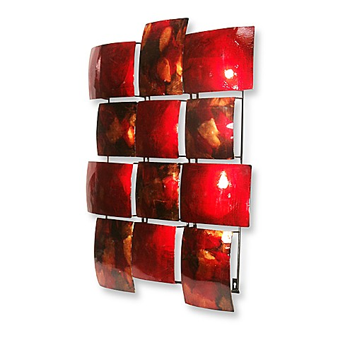 Red 12-Rectangle Metal Wall Art
