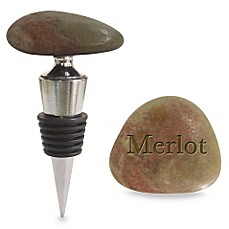 Rock Wine Stopper with Stand in Merlot