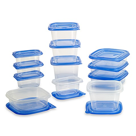 24 piece multi size food storage containers and lids bed for Bathroom containers with lids