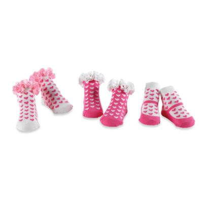 Mud Pie™ Pink Heart Socks in Size 0-12 Months (Set of 3)