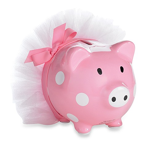 Mud pie tiny dancer ceramic piggy bank bed bath beyond for Mini piggy banks