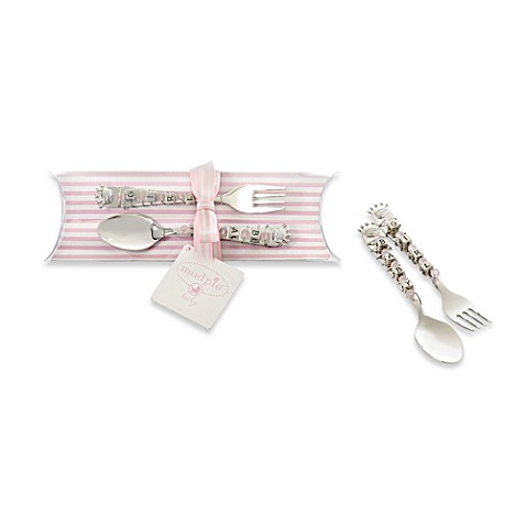 Mud Pie™ Little Princess Beaded Spoon And Fork Set