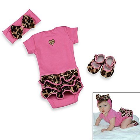 Baby Bella Maya™ 3-Piece Lollipop Leopard Bodysuit Set