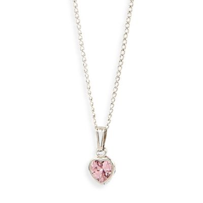Elegant Baby® Heart Shaped Pink Cubic Zirconium Sterling Silver Necklace