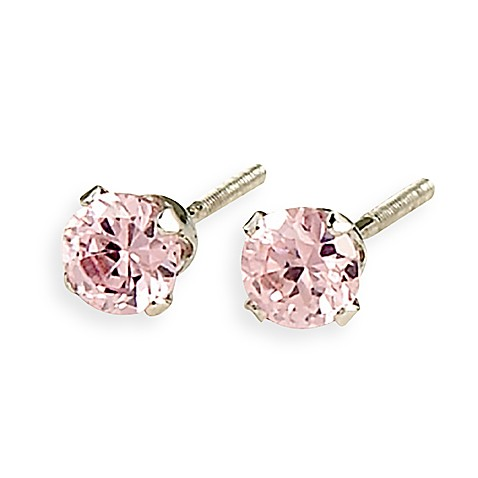 Elegant Baby® Pink Cubic Zirconium Sterling Silver Earrings