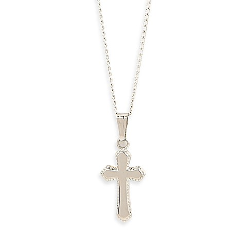 Elegant Baby® Beaded Edge Sterling Silver Cross Necklace
