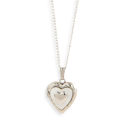 Elegant Baby® Mother of Pearl Heart Shaped Sterling Silver Locket Necklace