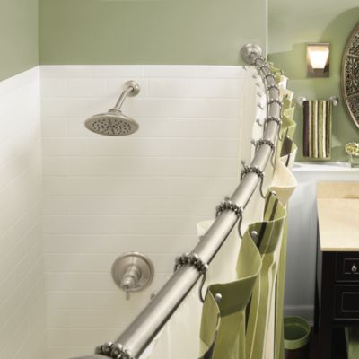 Moen® Adjustable Curved Brushed Nickel Shower Rod