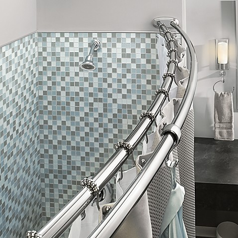 Moen Adjustable Double Curved Chrome Shower Rod Bed Bath