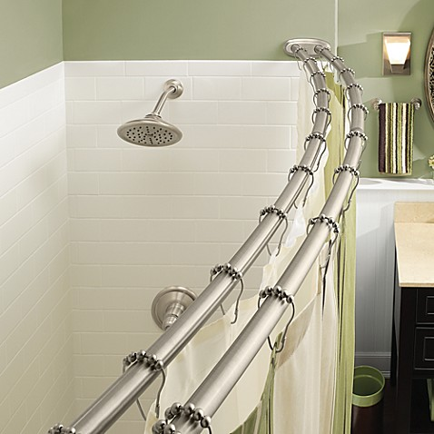 Moen Adjustable Double Curved Brushed Nickel Shower Rod Bed Bath Beyond