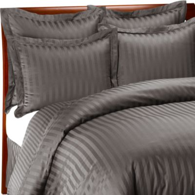 Wamsutta® 500 Damask Twin Duvet Cover Set in Charcoal