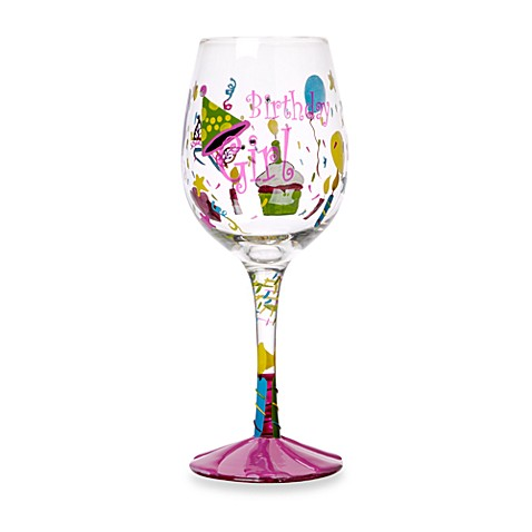 Novelty Decal Birthday Girl Wine Glass