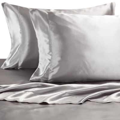Satin Luxury Queen Sheet Set in Silver