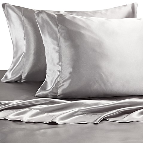 Satin Luxury Standard Pillowcases in Silver (Set of 2)