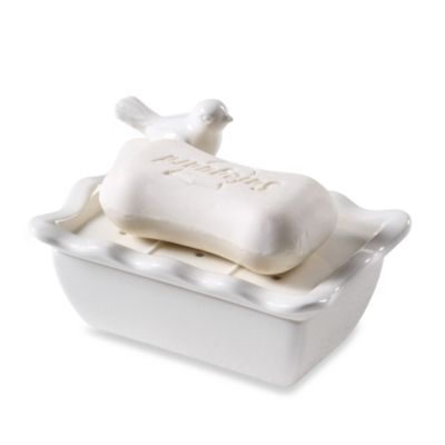 White Ceramic Soap Dish with Bird Design