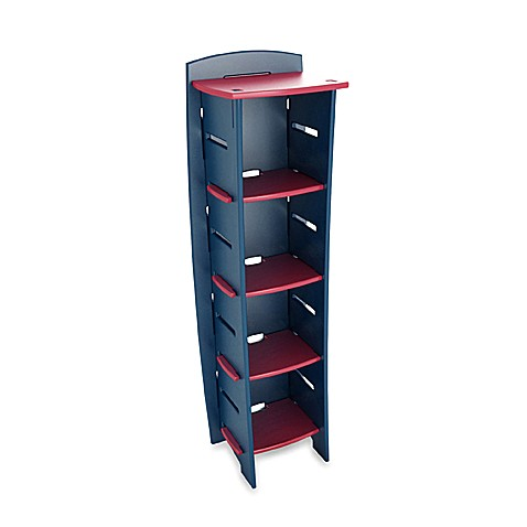 Legare 5-Shelf Bookcase in Navy/Red