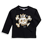 BE BASIC™ Toddler Boys Black Skull Long Sleeve Tee - Size 3T
