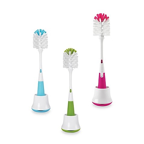 Oxo Tot Bottle Brush with Nipple Cleaner & Stand - Pink
