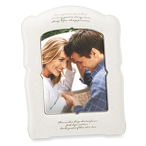 Lenox® Opal Innocence™ Love is Patient 8-Inch x 10-Inch Photo Frame