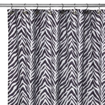 Watershed® Single Solution™ 2-in-1 Zebra Fabric Shower Curtain in Black/White