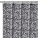 Watershed® Single Solution™ 2-in-1 Zebra Fabric Stall Shower Curtain in Black/White