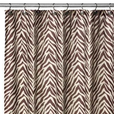 Watershed® Single Solution® 2-in-1 Zebra 50-Inch x 78-Inch Stall Shower Curtain in Brown/Tan