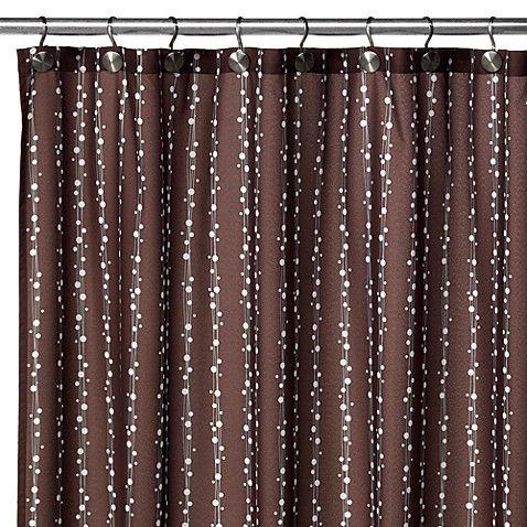 WaterShed® Single Solution™ 2-in-1 Bubbles on a String Fabric Shower Curtain - Coffee