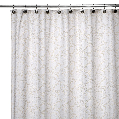 Watershed® Single Solution™ 2-in-1 Victorian Fabric Shower Curtain in White/Taupe