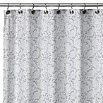Watershed® Single Solution™ 2-in-1 Victorian Fabric Shower Curtain in White/Silver