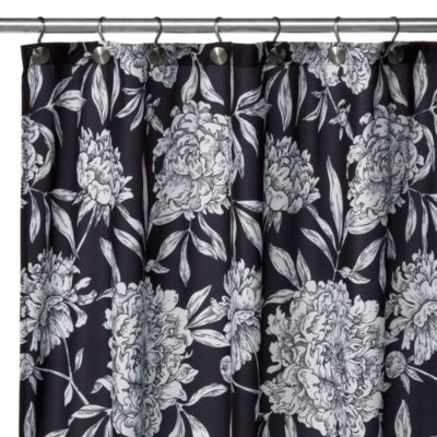 Watershed® Single Solution™ 2-in-1 Peony Fabric Shower Curtain