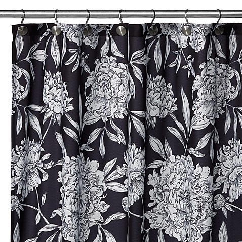 Watershed® Single Solution™ 2-in-1 Peony Fabric Stall Shower Curtain