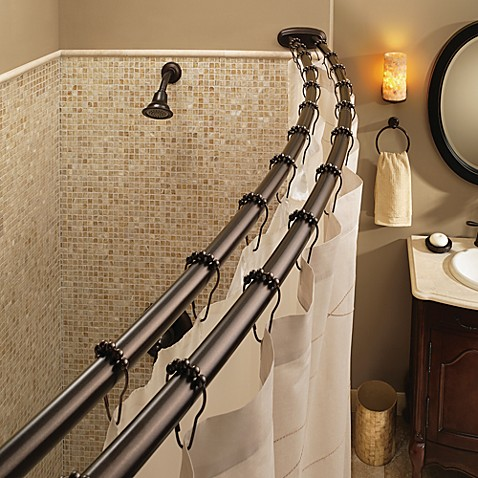 Moen 174 Old World Bronze Double Curved Shower Rod Bed Bath