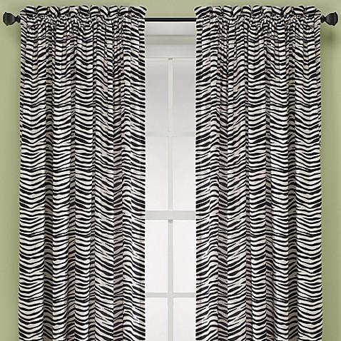 Buy Zebra 84 Inch Window Curtain Panel In Black Ivory From