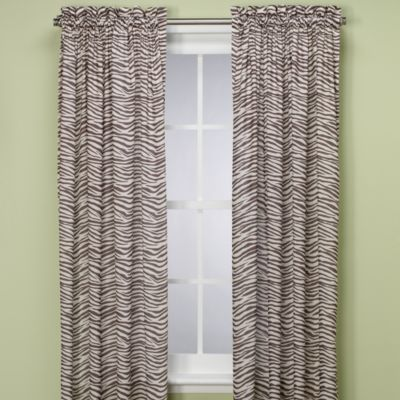 Zebra 84-Inch Window Panel in Chocolate/Ivory