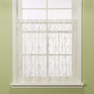 Petite Fleur 24-Inch Ivory Window Tier Pair