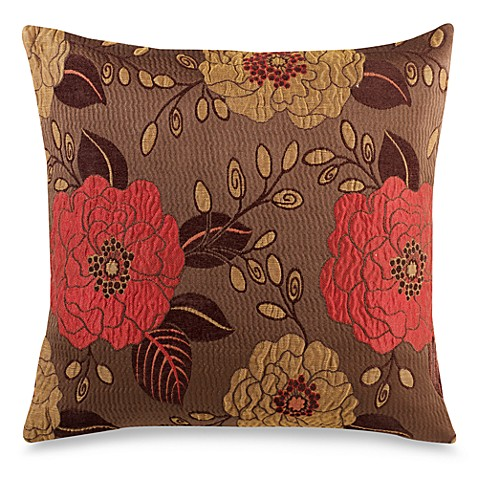 Full Bloom 20-Inch Square Decorative Throw Pillow in Brown